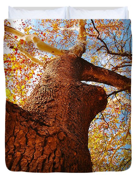 Duvet Cover featuring the photograph The Deer  Autumn Leaves Tree by Peggy Franz