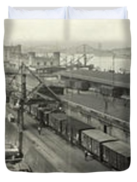 The Docks At Cologne - Germany - C. 1921 Duvet Cover by International  Images