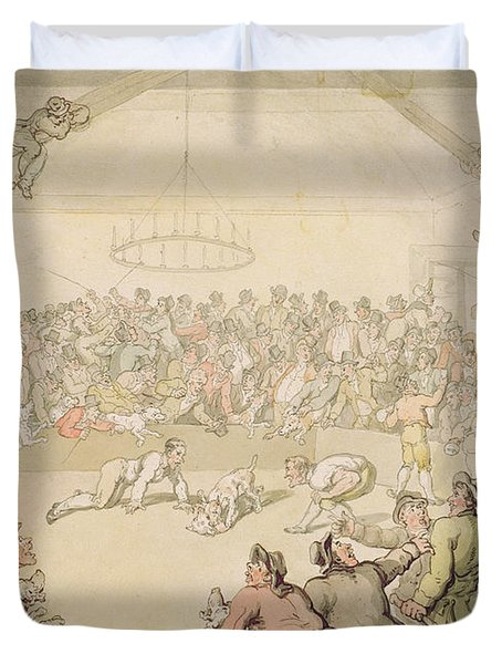 The Dog Fight Duvet Cover by Thomas Rowlandson