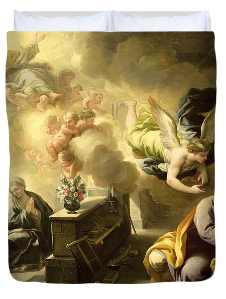 The Dream Of Saint Joseph Duvet Cover by Luca Giordano