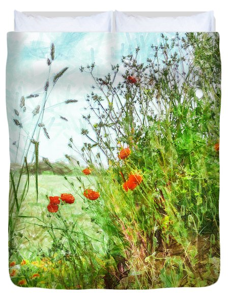 Duvet Cover featuring the digital art The Edge Of The Field by Steve Taylor