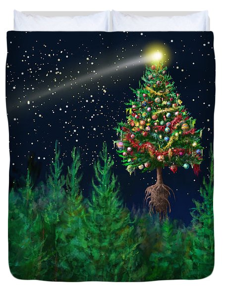The Egregious Christmas Tree Classic Landscape Duvet Cover by Russell Kightley