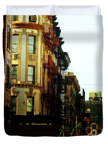 The Empire State Building And Little Italy - New York City Duvet Cover by Vivienne Gucwa