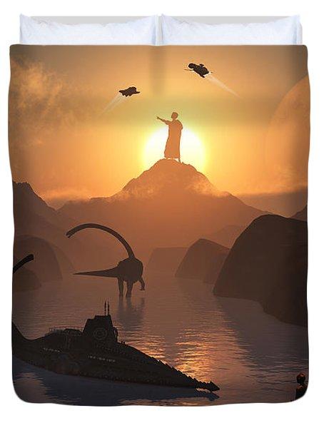 The Fabled City Of Atlantis Set Duvet Cover by Mark Stevenson