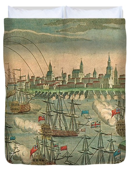 The Fall Of Louisbourg 1758 Duvet Cover by Photo Researchers