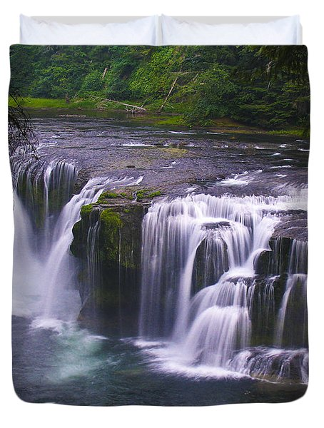 Duvet Cover featuring the photograph The Falls by David Gleeson