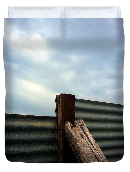 Duvet Cover featuring the photograph The Fence The Sky And The Beach by Andy Prendy