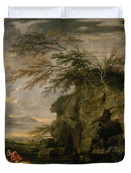 The Finding Of Moses Duvet Cover by Salvator Rosa
