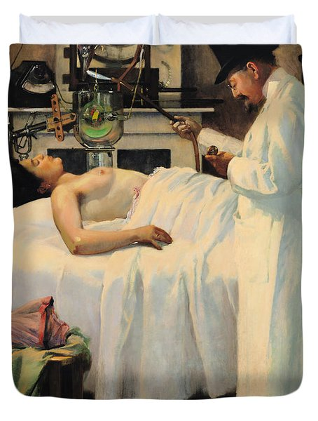 The First Attempt To Treat Cancer With X Rays Duvet Cover by Georges Chicotot