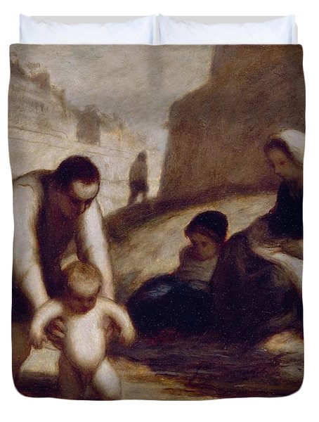The First Bath  Duvet Cover by Honore Daumier
