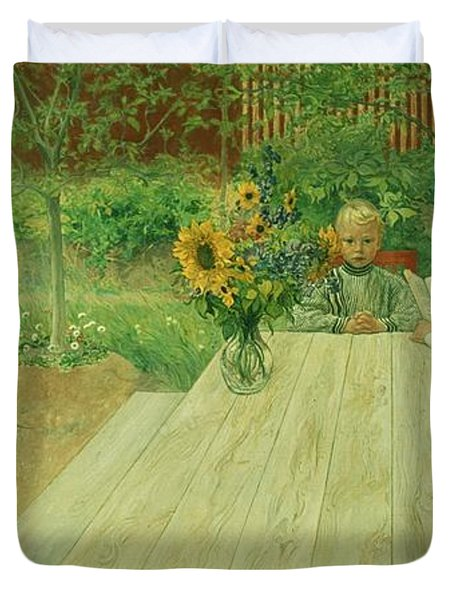 The First Lesson Duvet Cover by Carl Larsson
