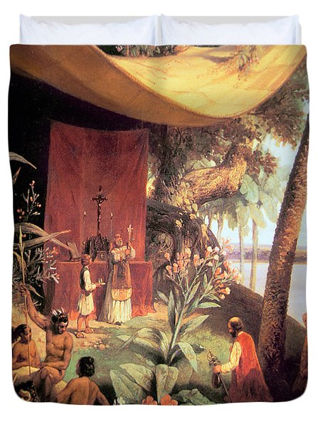 The First Mass Held In The Americas Duvet Cover by Pharamond Blanchard