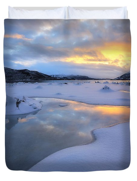 The Fjord Of Tjeldsundet In Troms Duvet Cover by Arild Heitmann