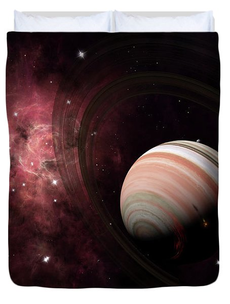 The Gas Giant Carter Orbited By Its Two Duvet Cover by Brian Christensen