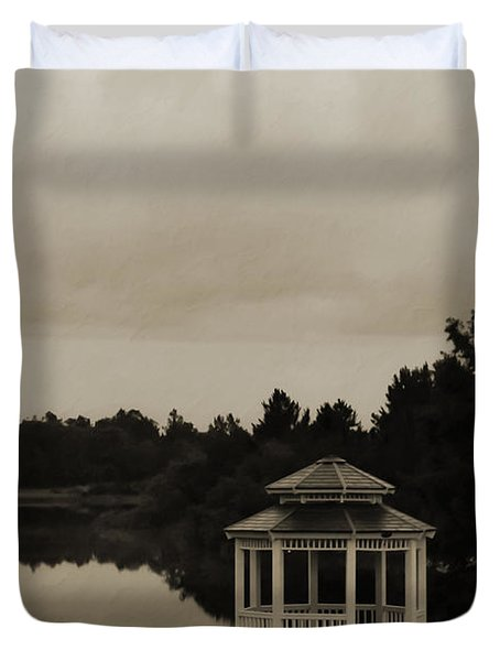 Duvet Cover featuring the photograph The Gazebo At The Lake by DigiArt Diaries by Vicky B Fuller