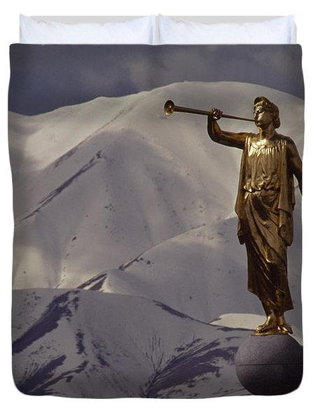 The Gilded Statue Of The Angel Moroni Duvet Cover by James P. Blair