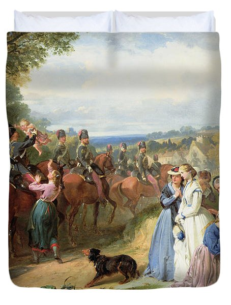 The Girls We Left Behind Us - The Departure Of The 11th Hussars For India Duvet Cover by Thomas Jones Barker