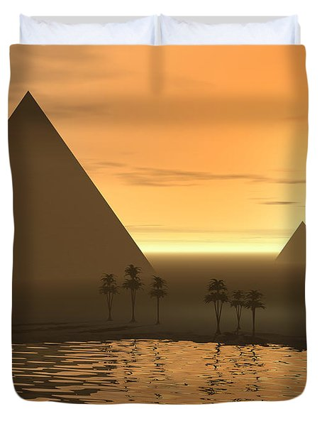 Duvet Cover featuring the digital art The Giza Necropolis by Phil Perkins