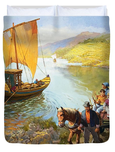 The Grape-pickers Of Portugal Duvet Cover by van der Syde