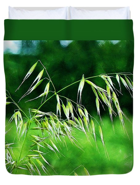 Duvet Cover featuring the photograph The Grass Seeds by Steve Taylor