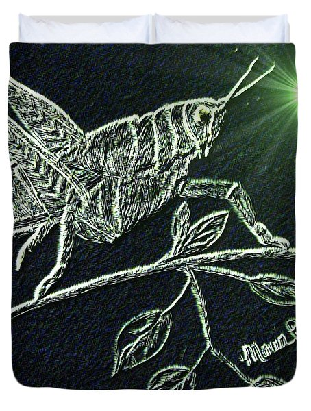 Duvet Cover featuring the drawing The Grasshopper by Maria Urso