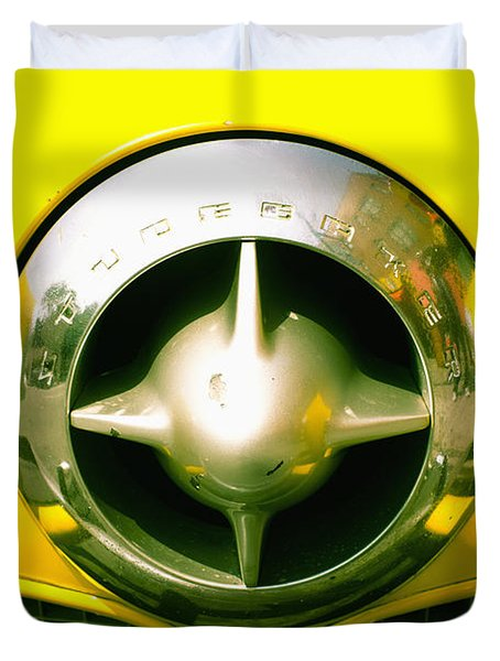 The Grill Of A Yellow Studebaker Car Duvet Cover by David DuChemin