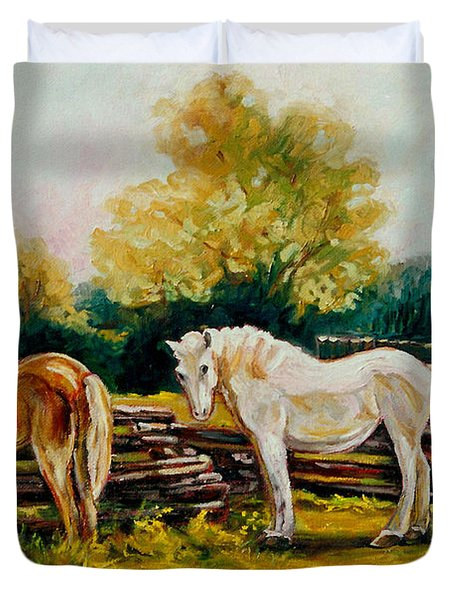 The Horse Ranch Eastern Townships Quebec Duvet Cover by Carole Spandau
