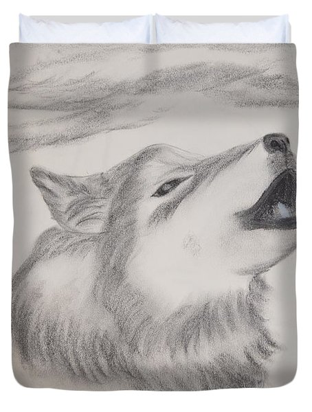 Duvet Cover featuring the drawing The Howler by Maria Urso