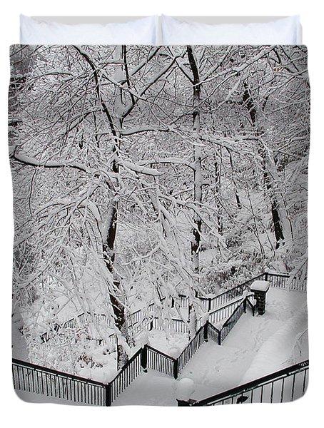 The Hundred Steps In The Snow Duvet Cover