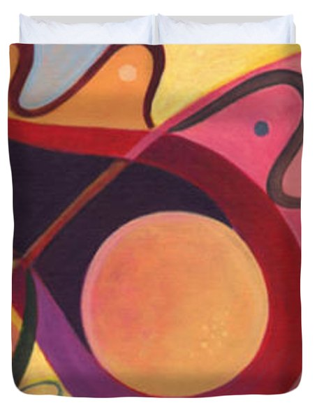 The Joy Of Design Triptych Duvet Cover by Helena Tiainen