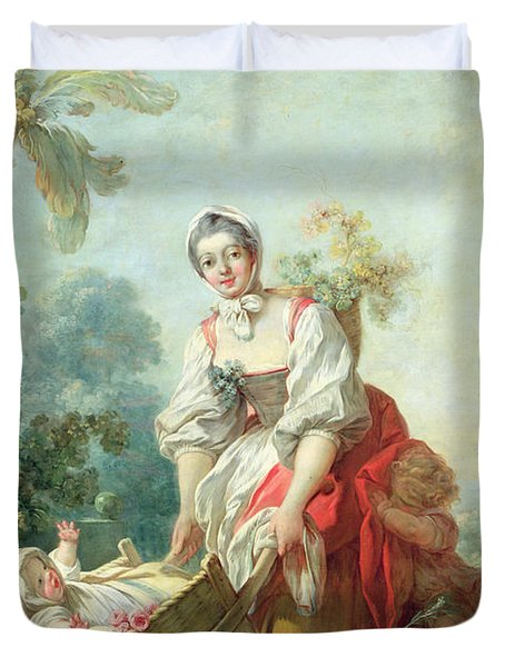 The Joys Of Motherhood Duvet Cover by Jean-Honore Fragonard