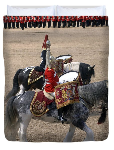 The Kettledrums Of Household Cavalry Duvet Cover by Andrew Chittock