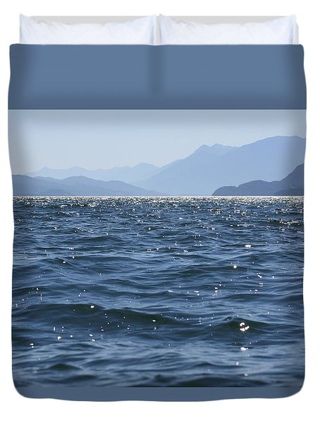 Lake In Blue Duvet Cover by Cathie Douglas