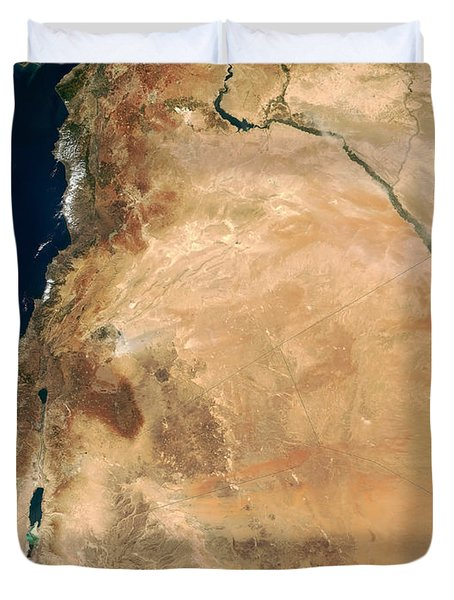 The Lands Of Israel Along The Eastern Duvet Cover by Stocktrek Images