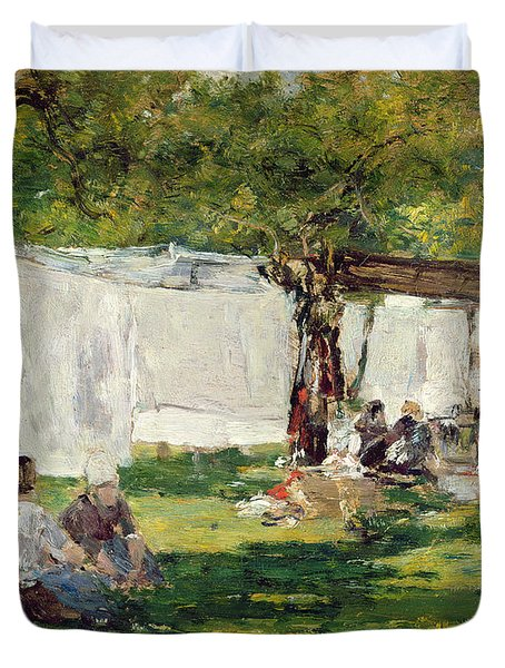 The Laundry At Collise St. Simeon  Duvet Cover by Eugene Louis Boudin
