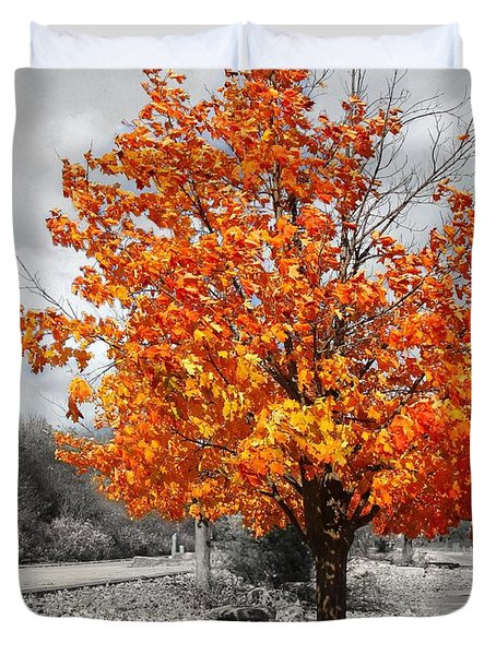 Duvet Cover featuring the photograph The Leaves Begin To Fall by Davandra Cribbie