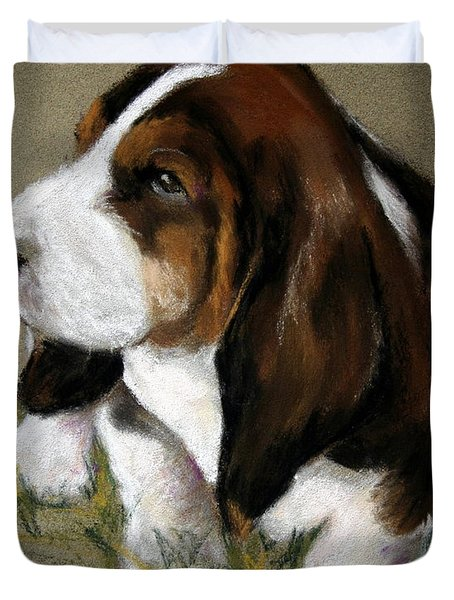 The Little Basset Duvet Cover by Mary Sparrow