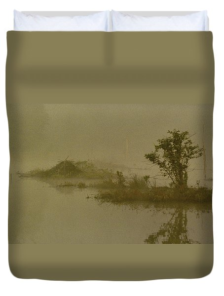 The Lodge In The Mist Duvet Cover by Skip Willits