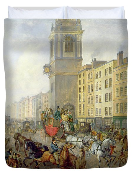 The London Bridge Coach At Cheapside Duvet Cover by William de Long Turner