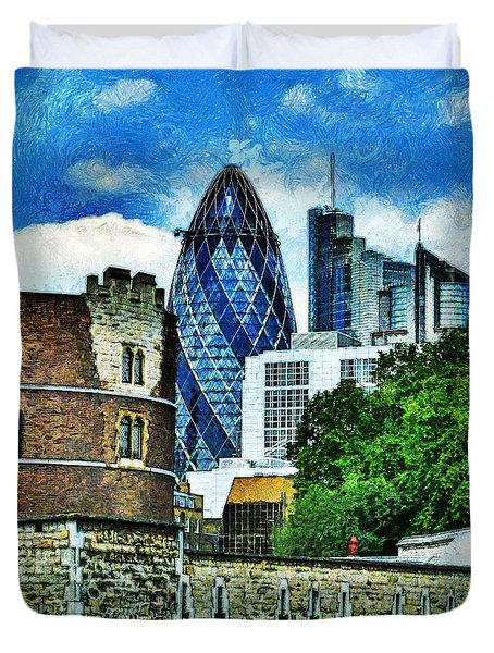 The London Gherkin  Duvet Cover by Steve Taylor