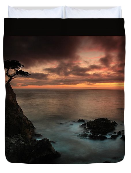 The Lone Cypress Observes A Pebble Beach Sunset Duvet Cover by Dave Sribnik