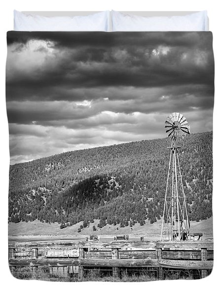the lonly windmill in B and W Duvet Cover