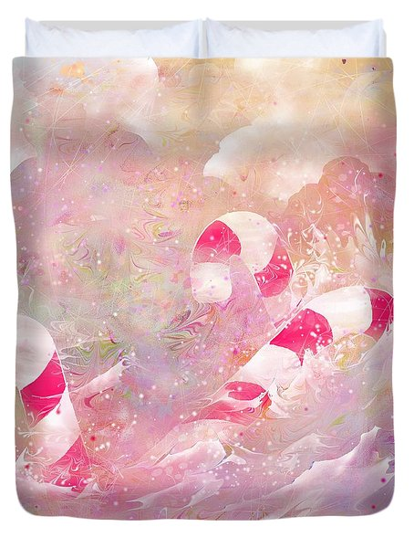 The Lost Candy Canes Duvet Cover by Rachel Christine Nowicki