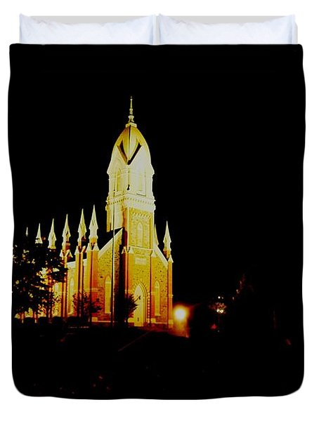 The Morman Temple In Brigham City Duvet Cover by Jeff Swan