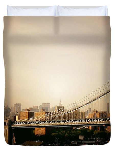 The New York City Skyline And Manhattan Bridge At Sunset Duvet Cover by Vivienne Gucwa