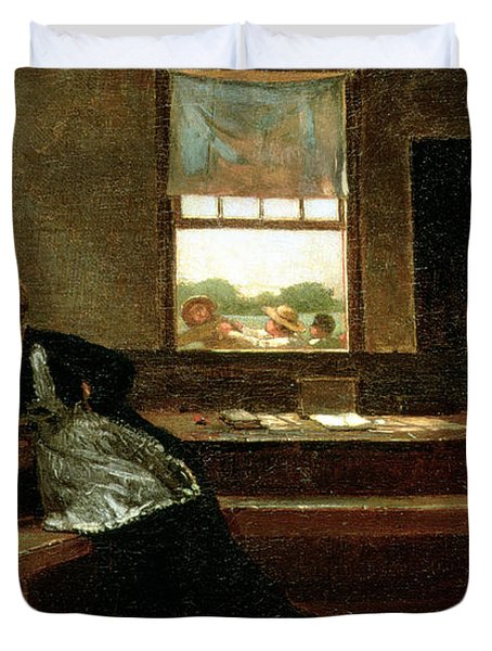 The Noon Recess Duvet Cover by Winslow Homer