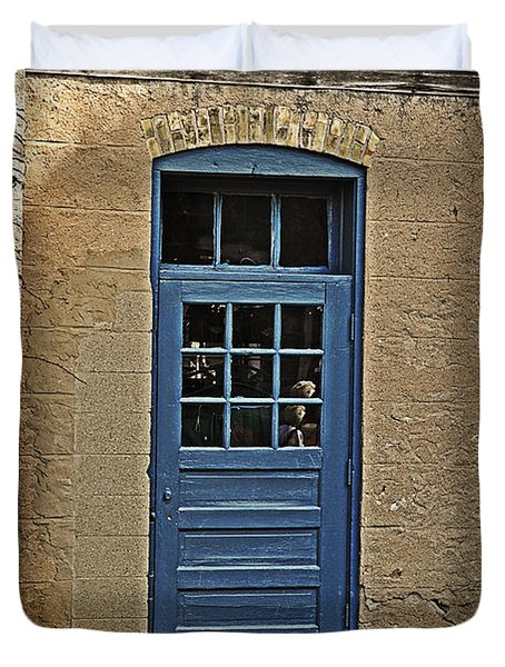 The Old Blue Door Duvet Cover by Mary Machare