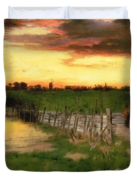 The Old Bridge Over Hook Pond Duvet Cover by Thomas Moran