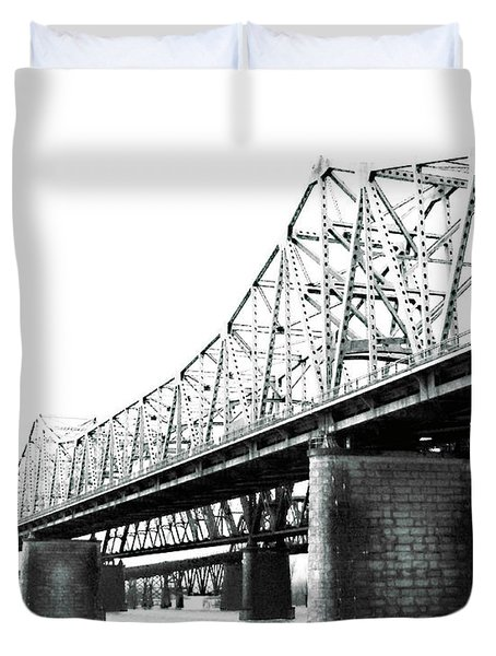 Duvet Cover featuring the photograph The Old Bridges At Memphis by Lizi Beard-Ward