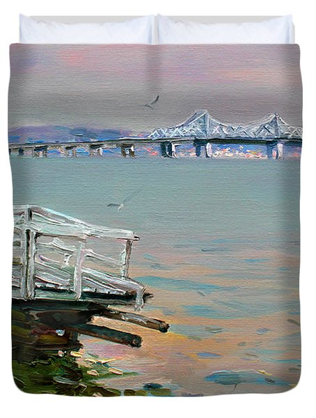 The Old Deck And Tappan Zee Bridge Duvet Cover